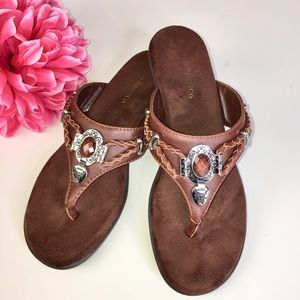 Brown Silver Braided Vegan Leather Thong Sandals